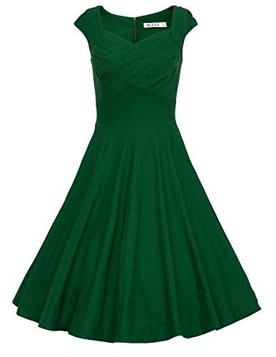 MUXXN Rétro robe de soirée de cocktail de années 1950 de femme du style d'Audrey Hepburn Deep green