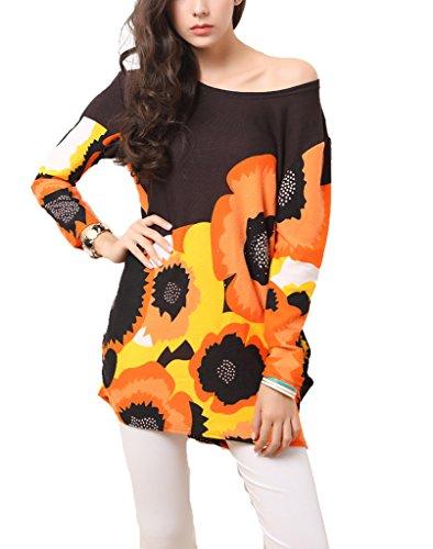 Vlunt Pull stretch pour femme Manches chauve-souris Style robe tunique Tops - B