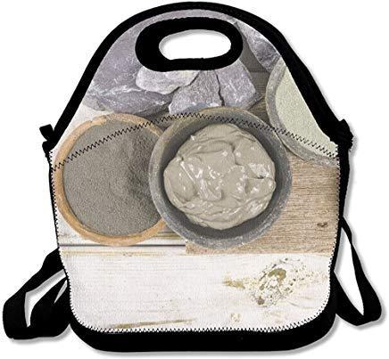 Ancient Minerals Green & Blue Ton-Maske für Spa Beauty Concept Einzigartige Neopren-Lunch-Taschen isoliert mit Schultergurt, Lunch-Taschen für Damen, Herren, Kinder, Picknick-Box (Spa-ton-maske)