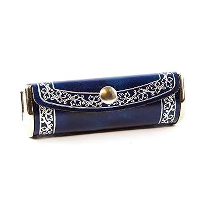 Trani Damen Lippenstiftetui aus Leder, Handgearbeitet in klassischem italienischem Stil, Geschenkschachtel inklusive, blue 10x3 cm