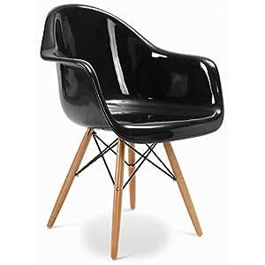 Chaise DAW Charles Eames Style - Fibre de verre Brillant Noir