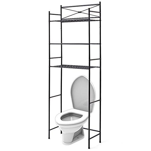 EZOWare 3-Niveles Estantería de Metal para Almacenamiento Sobre el Inodoro WC, Ahorro de Espacio en el Baño - Negro