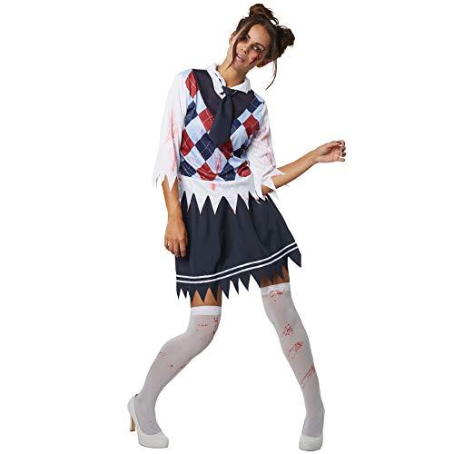 dressforfun 900433 - Damenkostüm Gruseliges Schulmädchen, Kostüm im Grusel-Look mit Blutflecken (S | Nr. 302225)