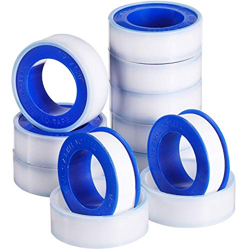 E-CHENG 10 Rolls Thread Seal Tapes, PTFE Pipe Sealant Tape (1/2 by 520 Inches) (White) - Pipe Thread Sealants