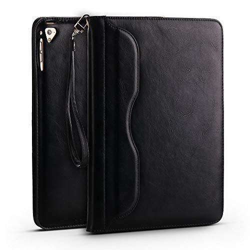 CSLU New 2017iPad 9,7, iPad Pro 9,7, iPad Air 1und 2Fall, Premium Soft Flip Folio [Funktion] PU Leder Wallet Cover mit Ständer ID & Credit Karten Taschen A-Black - Mikrofaser-wallet-karte