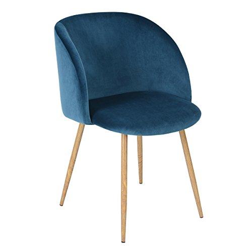 1er-Set-Vintager-Retro-Stuhl-Sessel-Polstersessel-Samt-Lounge-sessel-Clubsessel-Fernsehsessel-blau