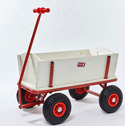 Izzy Bollerwagen faltbar Dach Luftbereifung Strand 80kg, Faltbarer Transportwagen Picknickwagen Kohlfahrt Karneval (Holz Natur - Luftreifen - 100 kg Traglast, 97 cm x 61 cm x 59 cm)