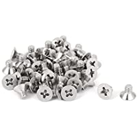 sourcingmap® 50 pcs M4x6mm Acero inoxidable 316 Tornillos tornillos avellanados Phillips
