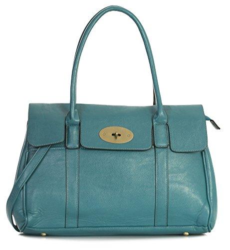 Big Handbag Shop, borsa a tracolla da donna in eco-pelle, di design, da boutique Blu (Foglia di tè, blu)