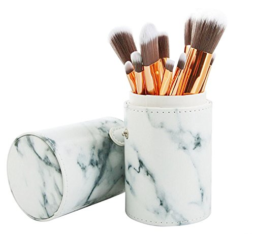 Robinson Fency Makeup Brushes Set Professional Synthetic Make-up Brush Kit Marble Handle Design Eyeliner Eyeshadow Foundation Blush Powder Liuqids Cosmetics Tool With Opp Bags (With Cylinder)