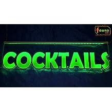 """'""""LED Cartel cócteles bebidas Mix verde opaco sobre Transparente o su personalizada en Selector de corte combinado en color de contornos con fuente de alimentación 230V© faunz"""
