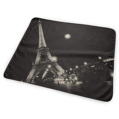 Kotdeqay Tragbare Wickelauflage für Babywindel, saugfähig, waschbarParis Night Eiffel Tower(65x80cm)