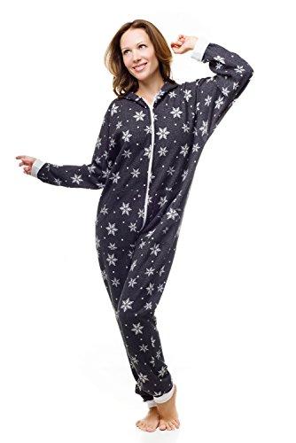 5ace615ca9 Kajamaz Schneeflocken Go-Jamz Einteiliger Strampler Jumpsuit Pyjamas mit  Schneeflocken für Erwachsene (extra groß