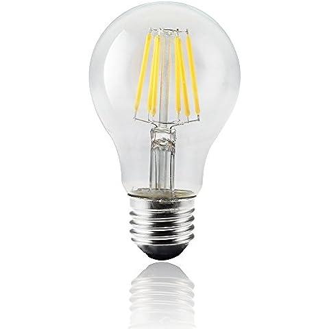 JYP Edison Stile Vintage Risparmio Energetico COB LED Filamento Lampadina Leggero A19, Media Vite E27, Cancella Morbido Bianco Caldo 2700K, 6W Sostituire 60W a Incandescenza Equivalente, 85-265VAC, Non Dimmerabile (6 Watt)