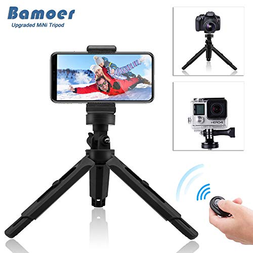 Bamoer Trípode para móvil,Trípode Flexible con Control Remoto Bluetooth con Clip Universal para Cualquier Batería de Teléfono GoPro Hero 6 Hero 5 Cámara Xiaomi Yi Acción Cámara