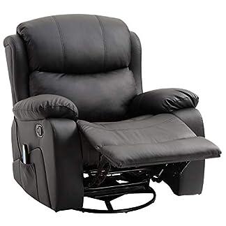 HOMCOM Poltrona Dondolo Relax Massaggiante Riscaldante Reclinabile Ecopelle 94 × 103 × 100cm Nero