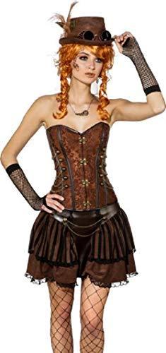 Ladies Deluxe Lace Brown Bronze Steampunk Victorian Wild West Inventor Cosplay Quality Fancy Dress Costume Outfit Corset (UK 10 (EU 38), Brown/Bronze) (Wild West Fancy Dress Kostüme Uk)
