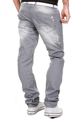 MERISH Herren Jeanshose Destroyed Look Chino Regular Fit Jeans Hose Neu Trend J727 Grau