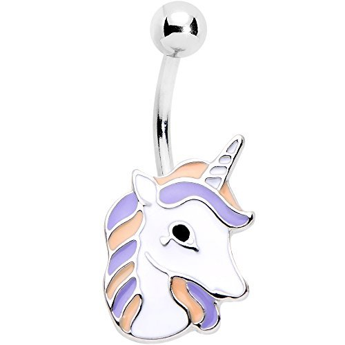 Colourful Stainless Steel Unicorn Belly Ring