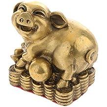 7TLG SET Elefanten Figur Familie Tierfigur Deko Figur Fengshui Gold   !
