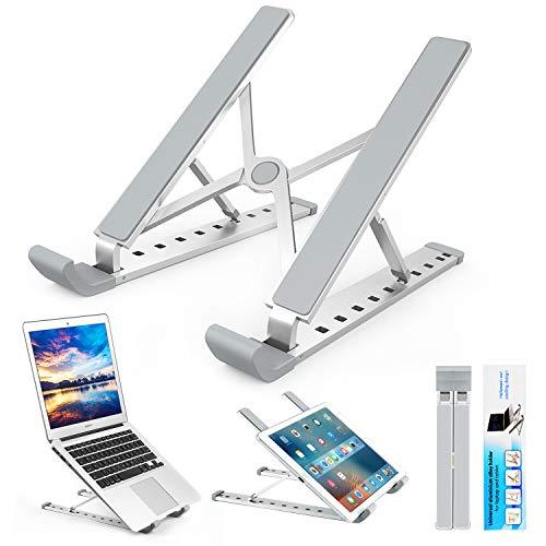 Laptop Ständer, Multi-Winkel Verstellbar, Höhe Einstellbar, Faltbar Aluminium Tablet Halterung Stand Halter für 10-17 Zoll Notebook/iPad/MacBook von Yuede, Silber (Tablet Y Laptop)