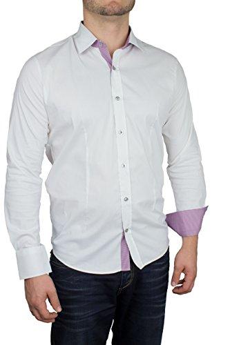Herren Langarm Hemd Business Anzug Freizeit Hochzeit Basic Standard Slim Fit 2-Weiß