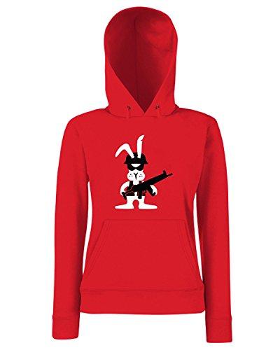 T-Shirtshock - Sweats a capuche Femme TM0499 rabbit warrior Rouge