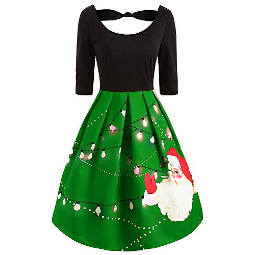 Weihnachten Kleid,Marlene Mode Womens Half Sleeve Weihnachten Santa Print geknotet Vintage Swing Dress