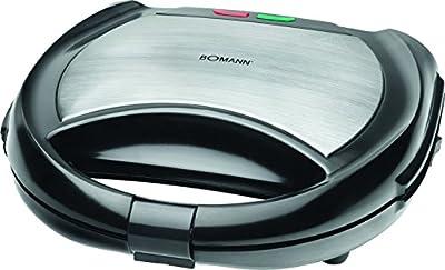 Bomann ST/WA 1364 CB - Sandwichera, gofrera y grill 3 en 1 con placas intercambiables, color negro y plata