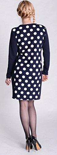 Robe de grossesse 3071 - motif à pois Bleu Marine