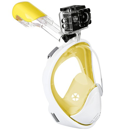 DAS Leben Immersione maschera 180 Visione campo asciutto Dive Pieno-Facciale Respirazione Libera Snorkeling mask per gli adulti e Bambini, Anti-appannamento, nessuna colatura
