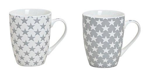 4x Weihnachtstassen//-Becher Sterne Grau//Weiß// Keramik// 2 Motive 300 ml *NEU*
