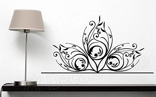 Schöne Delicate Floral Ornament Wandaufkleber Wohnkultur Wohnzimmer Schlafsofa Hintergrund Vinyl Aufkleber Blume Schlafzimmer 57 * 30 cm -