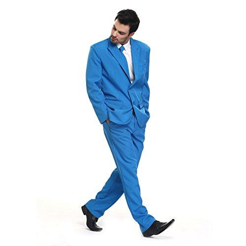 YOU LOOK UGLY TODAY Modisch Normaler Schnitt Herren Party Anzug Weihnachten Kostüme Festliche Anzüge Party Suits einheitliche Farbe -Blau/M (Herr Schneemann Erwachsene Herren Kostüme)