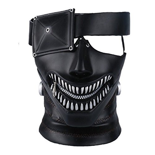 (Yacn Tokyo Ghoul Mask, 2017 Movie Kaneki Ken Mask with Adjustable Zipper,3D Mask Japan Anime Cosplay Mask)