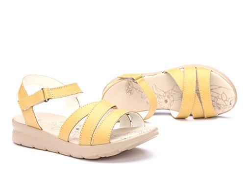 Moderne Sommer Damen Kreuzband Groß Bunte Bonbonfarbe Elegante Schöne Weiche Sohle Gummi Anti Rutsch Strandschuhe Sandalen Gelb
