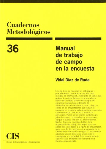Manual De Trabajo De Campo En La Encuesta (Cuadernos Metodológicos) por Vidal Díaz de Rada