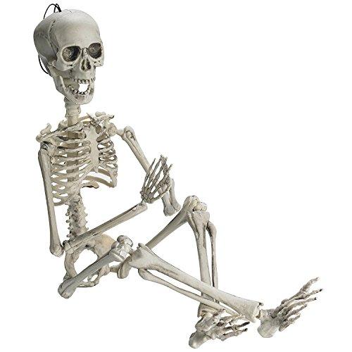 Esqueleto Para Halloween de 48cm Prextex Para Hacer Poses - Esqueleto de Cuerpo Entero Con Articulaciones Movibles Para Posar y 2 Sets de Accesorios para Cuerpo para la Mejor Decoración de Halloween