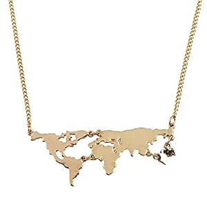 Happy GiftMart Golden Metal World Map Travel Abstract Necklace for Women (50 cm)