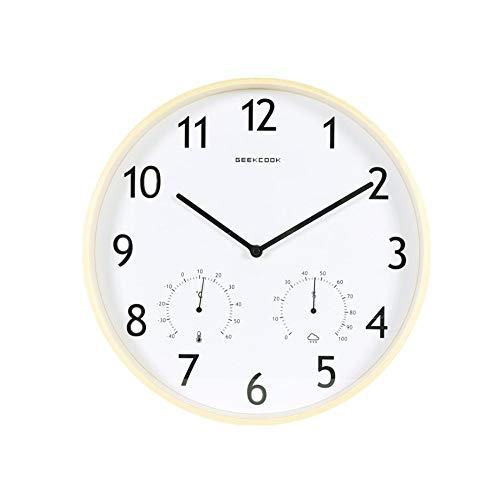 Csxg Wanduhren Einfache nordische Holzuhr und Elegantes, sauberes Gürtel-Thermometer-Hygrometer Elfenbein-Holzrahmen - Elfenbein-thermometer