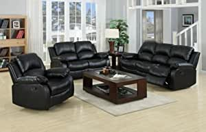 BRAND NEW VALENCIA BONDED LEATHER RECLINER SOFA 3+2 suite in BLACK