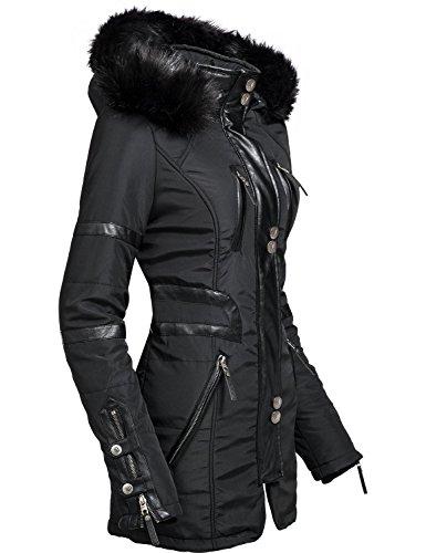 Navahoo Moon Chaqueta para Mujer con Modernas Aplicaciones de Cuero sintético Negro XS