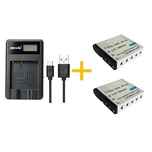 2 Stück 1500 mAh NP-40 Akku mit LCD Single NP-40 NP40 Akku-Ladegerät für Casio Z200 Z1050 Z750 Z1080 Z700 Z700 Usb