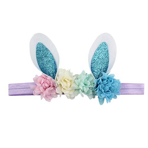 Oster Hasen Ohren Stirnband/Dorical Baby Kleinkinder Ostern Stirnbänder für Ostern Party Birthday Dekoration Haarreif Stirnband Haarschmuck mit Ohren für Ostern Geburtstag(E)