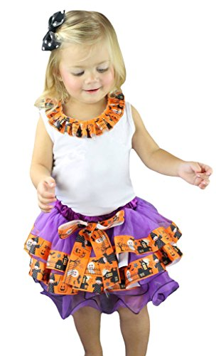 Tutu White Kostüm Ghost - Petitebelle Halloween weiß Shirt Violett Orange Ghost Blütenblatt Rock Set nb-8y Gr. Small, White, Orange, Purple