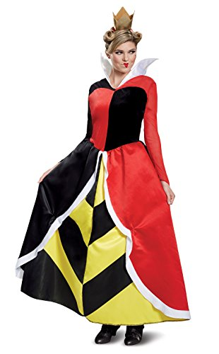 Disguise Women's Queen of Hearts Deluxe Adult Costume, red, L (12-14)
