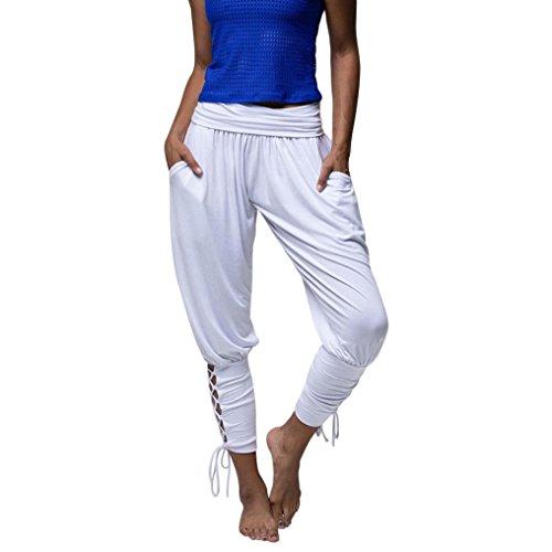 UFACE Frauen Solide Hohe Taille Tasche Sling Leggings Freizeithose Yoga Sportwear Lace-up Verband Feste Beiläufige Elastische Taille Hosen Leggings (XL/(42), Weiß)