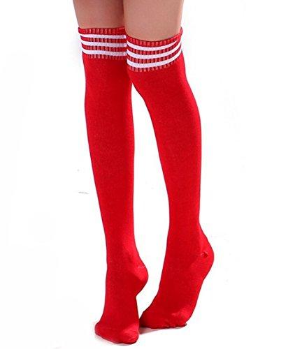Butterme Frau Mädchen Über den Knie Extra Lang Fußball Rugby Socks Strümpfe Sport Tights mit Klassik Dreibettzimmer Stripes Cosplay Socken (Rote+Weiß)