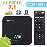 Android 7.1 TV Box - Wesho Android TV Box 2GB RAM 16GB ROM, Mise à Niveau Puce S905X, Smart TV Box 4K UHD avec 2.4Ghz WiFi & Bluetooth 4.0