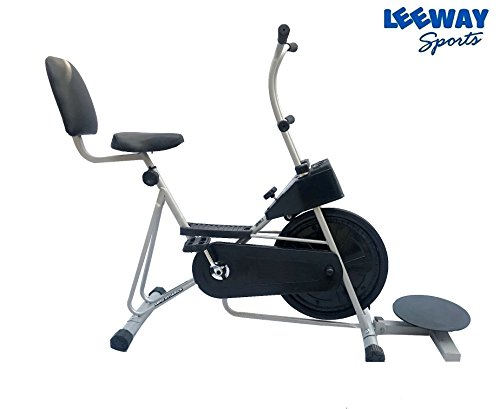 Exercise Cycle with Back Support with Twister by Leeway| Fix Handle Gym bike For Home Use| Deluxe Design of Fitness| Lifeline for Cardio Work Out| Weight Loss Cross fit Equipment| Stamina 201 -SILVER  available at amazon for Rs.4999